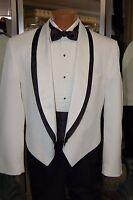 VINTAGE 80'S WHITE/BLACK TUXEDO JACKET 39 regular WITH BLACK CUMMERBUND/BOWTIE