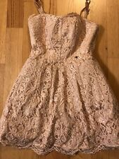 Elisabetta Franchi 44 Dress Lace Light Pink Gold Crochet Tulle Cocktail Formal
