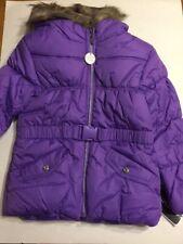 S. Rothschild Little Girls Belted Puffer Jacket w/ Faux-Fur Trim, 6X