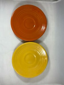 Bauer Pottery Ringware Saucers (2) Yellow, Orange - Excellent Condition - GA