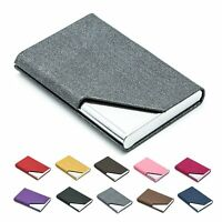 Business Card Holder Case Luxury PU Leather & Stainless Steel Multi Card Case