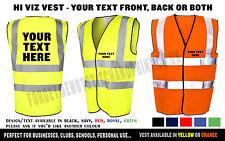 Personalised Hi Viz Safety Vest Waistcoat Hi Vis High Visibility Reflective