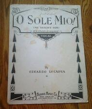 SHEET MUSIC O SOLO MIO MY BRIGHT SUN BY EDUARDO DI CAPUA 1916