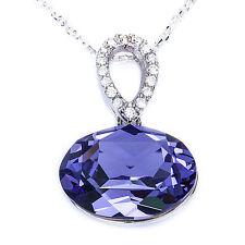 """Elegant Tanzanite & Cz  .925 Sterling Silver Pendant Necklace w/ 18"""" Rolo Chain"""
