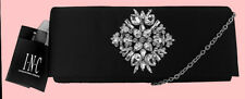 INC INTERNATIONAL CONCEPTS NICHKOLE Black Satin Clutch Bag Msrp $79.50