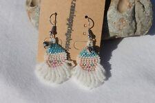 Hand Beaded Holiday Santa Earrings Color S/L Aqua Hat Silver Tone French Hooks