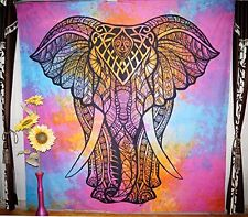 grande Arazzo Appeso A Parete Indiano Mandala Hippy Cotone Elefante Testa