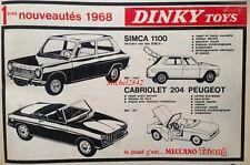 Publicité 1968 Dinky Toys Simca 1100 Peugeot 204 cabriolet