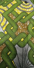 African print waxed fabric green, yellow, brown, black, grey 100% cotton