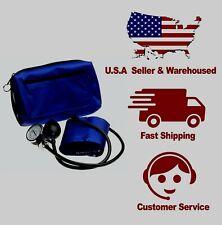 Emi Large Adult Navy Aneroid Sphygmomanometer Manual Blood Pressure Cuff Monitor