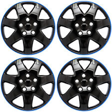"Set of 4 Piece 15"" inch ICE BLACK / BLUE TRIM Hub Caps Wheel Covers / Cap Cover"