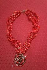 "RED CORAL GEMSTONE MULTI STRAND CHIP BEAD 18""NECKLACE WITH ROSE PENDANT-180 cts"