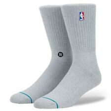 NWT New Stance NBA Logoman Basketball Crew Socks Gray Grey Mens Large 9–12