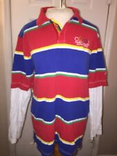 COOGI Men's XL Blue Yellow Red Striped Long Sleeve Polo Shirt