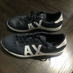 ARMANI EXCHANGE LEATHER AX Logo Perforated Low Top Trainers Sneakers Navy Sz. 10