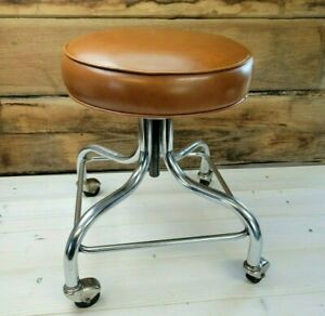VTG Doctors Stool Brewer 1940's Brown Leather Chrome Adjustable Rolling Chair