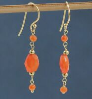 Solid 925 Sterling Silver Carnelian Gemstone Gold Plated Party Wear Gift Earring