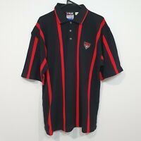 Vintage FILA Essendon Bombers Team Polo Shirt Striped Red and Black Size XL