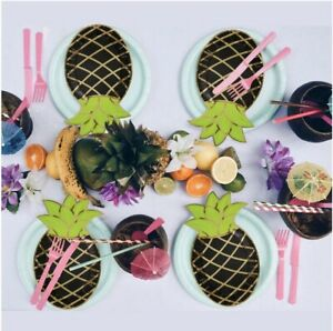 24 Pack Black Green & Gold Foil Pineapple Paper Plates Birthday Luau Beach Party