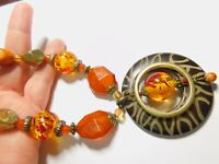 Faux Amber Plastic Beaded Pendant Necklace Vintage