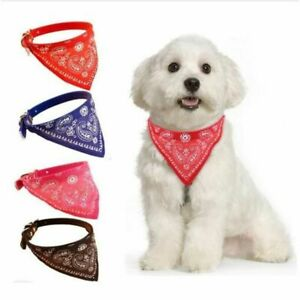 Adjustable Dog Puppy Cat Neck Scarf Bandana With Necklace Leather 25 A 33 CM