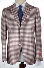 NWT ISAIA BLAZER Sailor jacket silk linen onion white checks handmade eu52 us 42