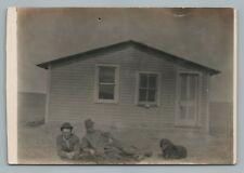 Prairie House—Men & Dog Rppc Antique Collie Spaniel? Photo—Pipestone Mn 1909