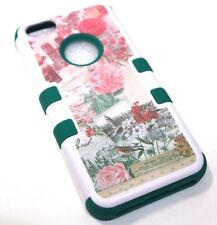 for iPhone 5c Vintage Flower Rose Paris France Green Hard &Soft Hybrid Skin Case