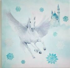Fairytale Girls Bedroom Glitter Unicorn Pegasus Horse White Teal Canvas Wall Art
