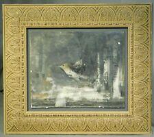 Primitivist Modern Painting Acrylic Wax Surreal Bird David Devillier ala Klee