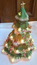 "Vintage 9"" Ceramic Green White Mini Lighted Christmas Tree Bear Design Table Top"
