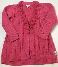 Naartjie Size 7 Years XL Pink Cotton Mix Knit Cabled Long Sweater Top