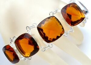 Vintage Sterling Silver With Large Gold Citrine Glass Rhinestones Statement 925
