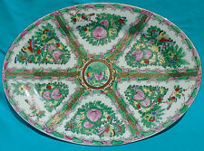 """Macao Chinese Rose Canton-style 16"""" Porcelain Platter, ca. 1970, K.N.F., China"""