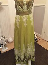 """Monsoon Persia Verde/paillettes lungo 48"""" Strappy Dress Size 8 ottime HOLIDAY 9/5"""