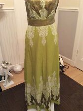 """Monsoon Persia Green/sequin Long 50""""'  DresS Size 8 Ex Hol"""