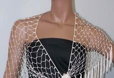 Scarf Shawl Wrap Hand Made Crochet with Immitation Pearl Beading India