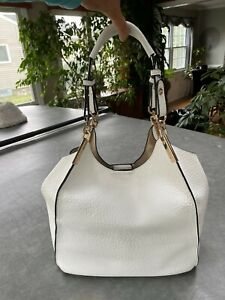 Black Rivet White & Black Faux Pebbled Leather with Gold Hardware Purse Tote bag