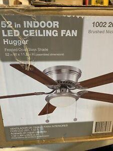Hugger 52 in. LED Indoor Brushed Nickel Ceiling Fan w/ Light Kit