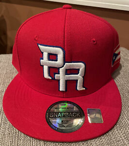 PUERTO RICO WBC 3-D EMBROIDERED PR FLAG ON SIDE HAT GORRA Cap red Fitted 7