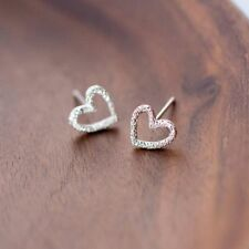 Kids Tiny Girls Silver Plated Stud Gift Heart Earrings Women Lady Hollow