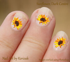 Flower, Yellow Sunflower with Brown Centre, 24  Nail Art Stickers Decals