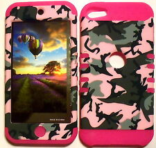 Pink Camo on Pink Skin Hybrid Apple ipod Touch 5 5G Rubber Protector Cover Case