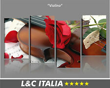Violino  QUADRO MODERNO XXL ARREDO CASA CAMERA LETTO STAMPA QUADRI TELA ROSA