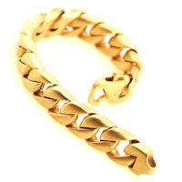 Mens Punk Gold 316L Stainless Steel Cuban Chain Bracelet Brush Polished 15mm8.6""