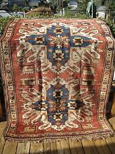 ANTIQUE ARMENIAN CAUCASIAN DATED 1913  RUG  EAGLE KAZAK GOOD PILE