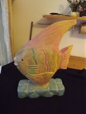 "hand carved wooden FISH SCULPTURE PASTEL COLORS BEACHY 15.5""tall 9.5"" wide base"