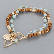 Brown Beaded Gold Finish Arrowhead Charm Boho Style Statement Bangle Bracelet