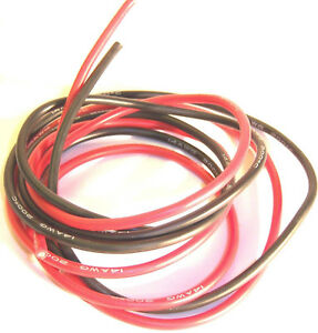 10AWG 10 AWG Gauge RC Flexible Insulated Silicone Wire Cable 50cm Black & Red