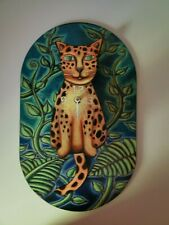 New listing Pink Cloud Whimsical Spotted Cat Clock with Swinging Tail and Jungle Motif